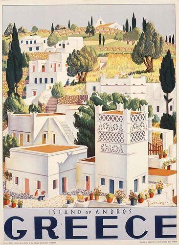 Greece: vintage poster με θέμα την Ελλάδα / Andros island