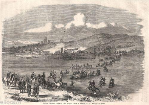 1859. Risorgimento. Cavalleria francese guada il Mincio in Arte e antiquariato, Stampe | eBay