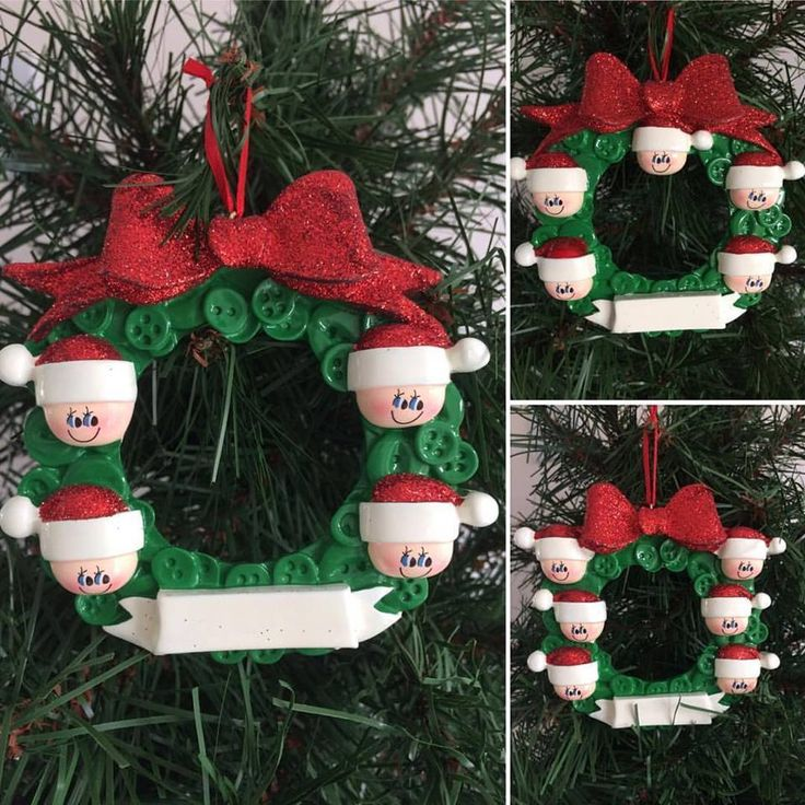 Button Wreath Family Personalised Christmas Tree Decoration for 4, 5 & 6 names.