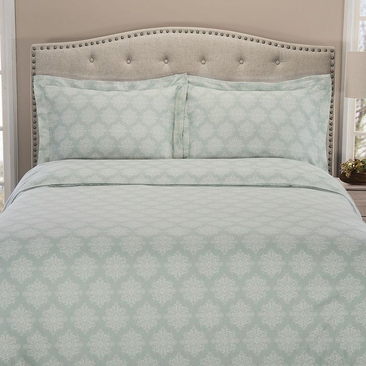 Grand Collection Cozy Nights Flannel Duvet Cover Set, Turquoise/Blue (Turq/Aqua)