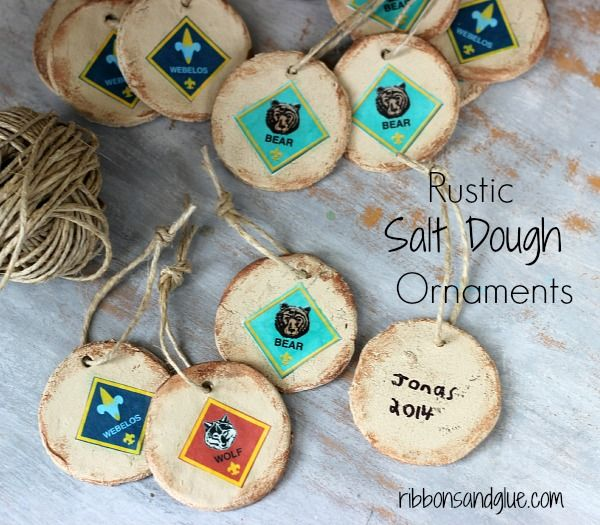 How to make DIY Rustic Salt Dough Ornaments made with @decoart paints . Great tutorial and great keepsake for any Scout! @thecubscouts