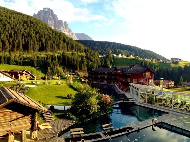 The Dolomites sparkle under the summer sun.
