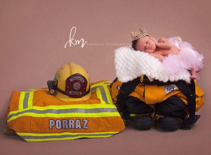 Newborn baby girl, firefighter, newborn firefighter, uniform
