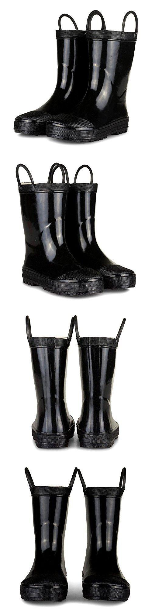 [SBR001P-BLACK-T5] Boys Rain Boots - Black Toddler Boot Easy On Handle Size 5