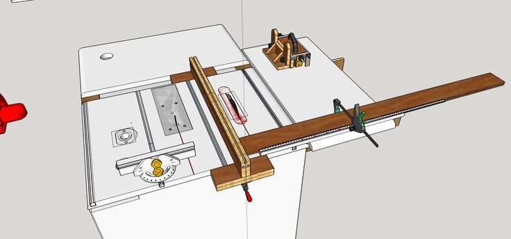 My multi-functions work table: table saw, jigsaw, router, universal fence, sliding sled, GRR Ripper, Miter Gauge, t-tracks, dust collection.