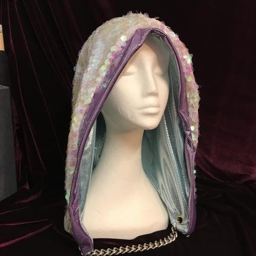 Mad Dame Reversible Hood - Mermaid Shells and Metallic Mint