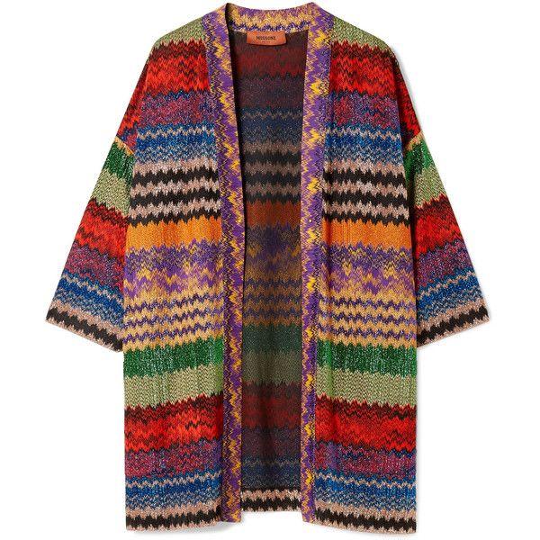 Missoni Metallic crochet-knit cardigan (9,490 GTQ) ❤ liked on Polyvore featuring tops, cardigans, metallic top, wet look top, crochet tops, metallic knit top and knit cardigan