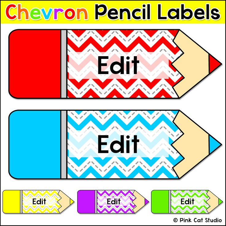 Chevron Labels: Let your imagination soar when you decorate your classroom using these fun chevron theme colored pencils labels! This set includes 6 colored pencils and 1 black and white pencil.