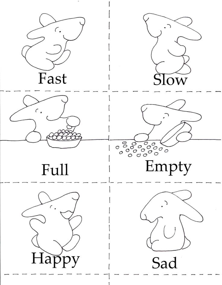 Opposites Matching Game, from the FREE printables at the Little Bunny series!