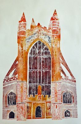 Collagraph of Bath Abbey by Jackie Curtis  An innovative printmaker living in Somerset, drawing much of her inspiration from the evocative Levels