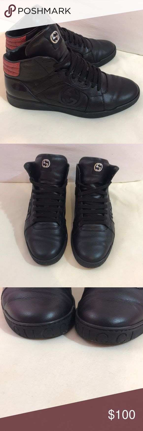 🔥 GUCCI HIGH TOPS 🔥 Men's Authentic Gucci high top sneakers, comes with box, Size 9 Italian  Logos on tongue top, side and front of toe  Python detail on back, along with black patent leather  EUC  Laces are in fantastic condition  The wearer takes amazing care of his shoes, these were loved but time to make room for new purchases 😉 Gucci Shoes Sneakers