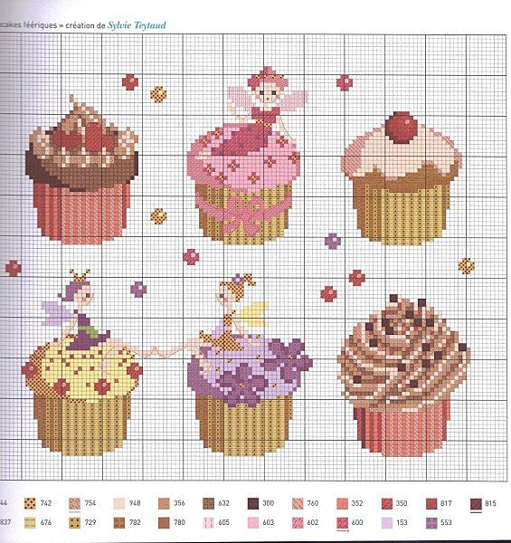 Cupcakes Cross Stitch Chart