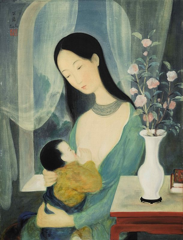 Lê Pho (1907 – 2001), Maternity, c.1940s, ink and gouache on silk, fixed on paper, laid on cardboard 61 x 46.5 cm