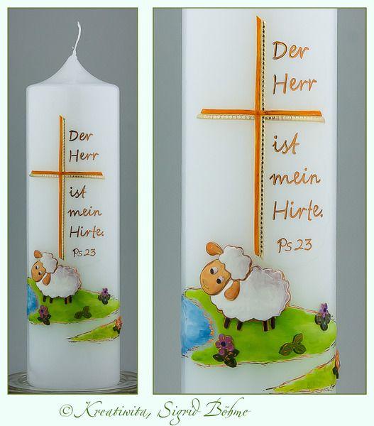Taufkerze Schäfchen DW 353 von  Kerzenkunst -  Kreatiwita auf DaWanda.com