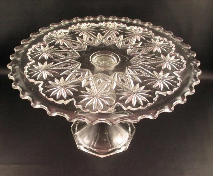 Antique EAPG Pressed Glass Pedestal Cake Stand Plate Pattern (#)