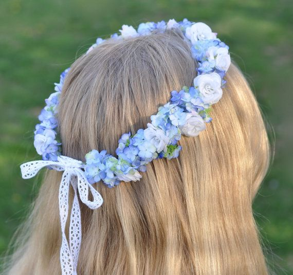 Light Blue Snowball Hydrangea Floral Crown by Hollysflowershoppe