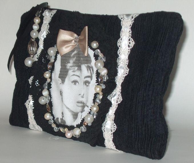 Borsa POCHETTE nera bianca AUDREY HEPBURN perle FIOCCO pizzo CLUTCH BAG sac