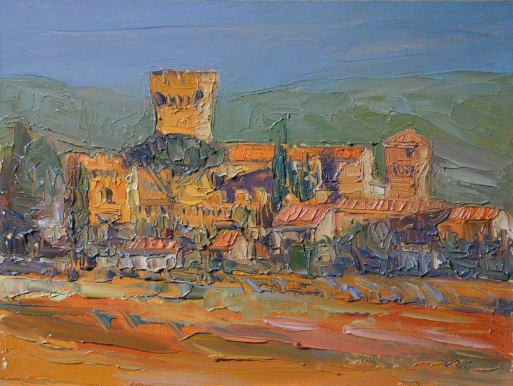 Castello di Spedaletto - olio su tavola cm 40 x 30