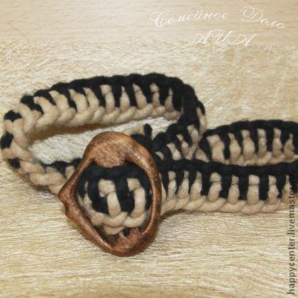 Пояс плетеный из войлока Контраст. - чёрно-белый,в полоску,пояс,пояс женский
