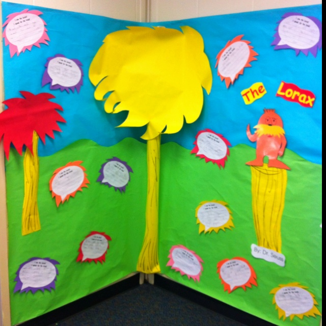 """I made this on the wall outside of the classroom for American Education Week. The speech bubbles start with """"I am the lorax! I speak for the trees!"""" then the students write a sentence underneath about the importance of trees! Such cute responses and a fun, colorful board!"""