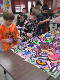End of the year collaborative murals to display during the beginning of the school year.