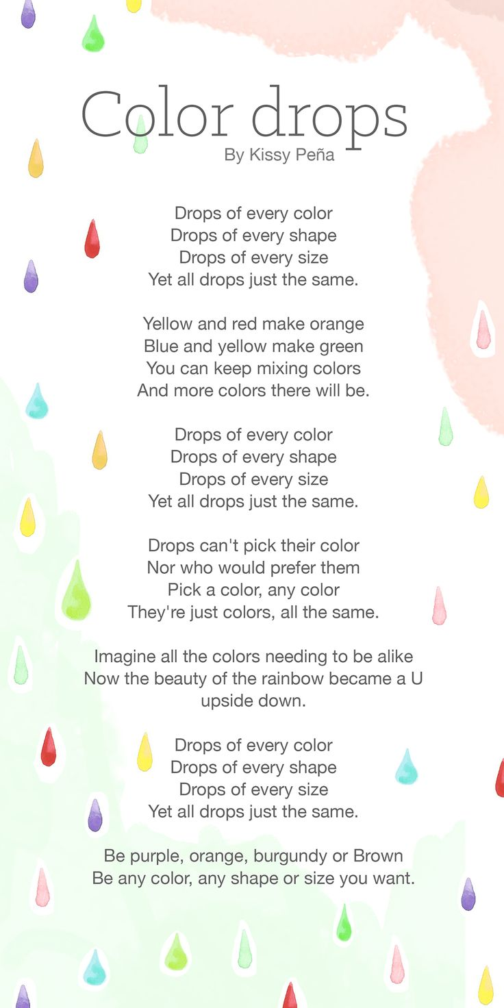 Color Drops Poem is a kid's friendly poem about accepting the beauty ...