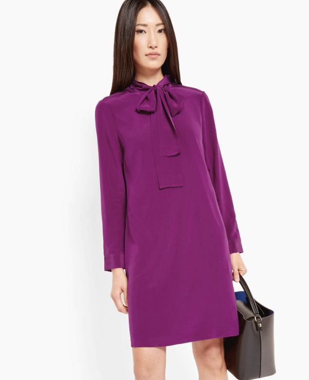 Silk pussy bow dress