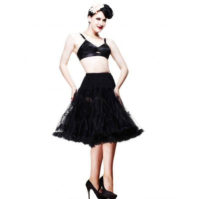 "Hell Bunny Long Black Ruffle Petticoat  Perfect with any fulll circle skirt or dress  -  completes that Rockabilly vintage look.  3 tier petticoat. Ruffle edge on hem. Elasticated waistband-very stretchy! 2 layers on each tier. Very full. Fits our 50's style dresses. XS-M 25"" long. L-XXL 27"" long. - See more at: http://www.sweetechoplus.com/dresses/petticoats/long-black-petticoat-sizes-xs-m-and-l-xxl.html"