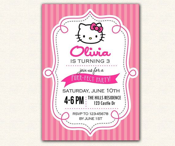 52 best hello kitty party images on pinterest hello kitty parties hello kitty invitation printable birthday party diy for girls stripe background cute solutioingenieria Images