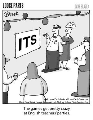 The games get pretty crazy at English teachers' parties.