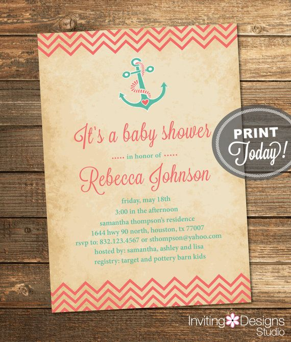 Nautical Baby Shower Invitation, Vintage, Coral, Mint Green, Aqua, Anchor, Girl, Chevron, Printable File (Custom, INSTANT DOWNLOAD)