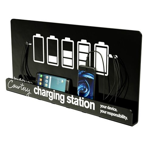 Courtesy cell phone and tablet charging station for reception areas, waiting rooms, lobbies, gyms, libraries, airports and school commons.
