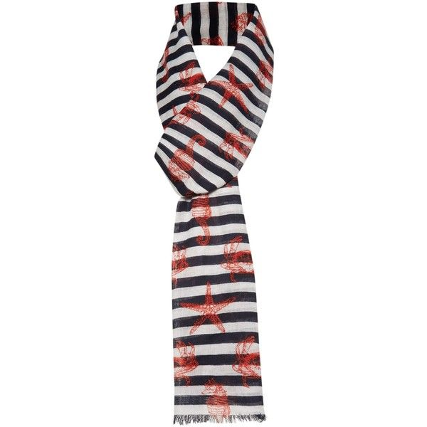 Dickins & Jones Nautical crab scarf ($5.46) ❤ liked on Polyvore featuring accessories, scarves, clearance, navy, nautical scarves, viscose scarves, long shawl, navy blue scarves and navy blue shawl