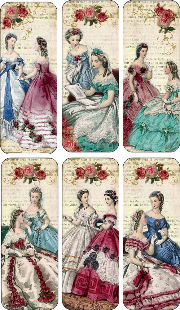 Vintage inspired bookmarks ladies with fancy dresses with silk ribbons set of 6