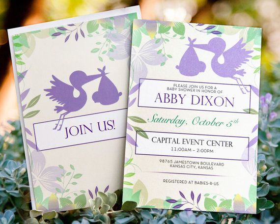 Stork Baby Shower Invitation Lavender and Mint by EastonStudios, $2.00