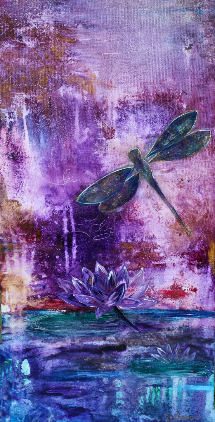 """Free Spirit"" by Amani Hanson 12x24 acrylic painting    Dragonfly over lilly, abstract acrylic painting, dragonfly, pond, lily, water, free, flower, lotus, new life, purple, little girl, water lily, abstract dragonfly, boho, bohemian, free spirit, wild and free, nature, dragonfly painting, transformation, positive energy, dragonfly art."