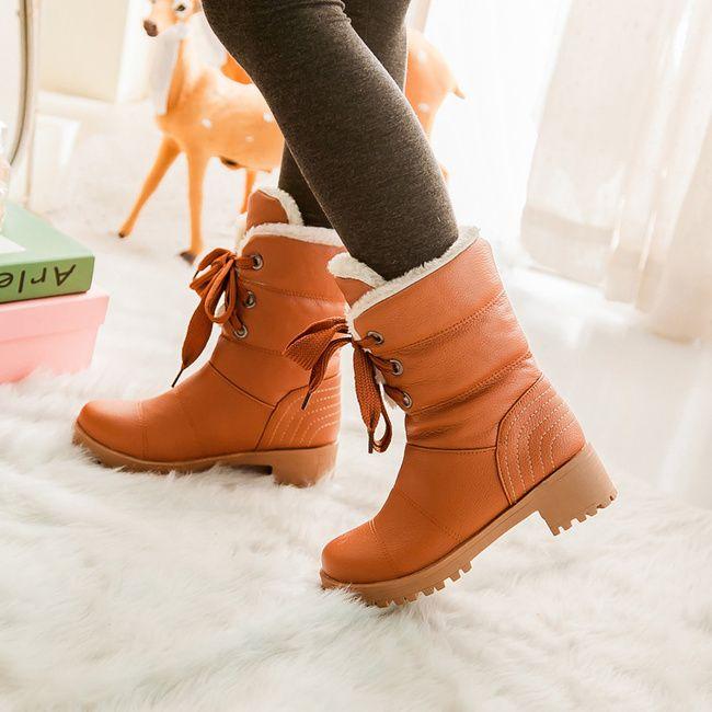 2016 новая мода зимние ботинки женщин кожа платформы ботинки снега каблуки зашнуровать женщин зимняя обувь верховая езда черный панк сапоги
