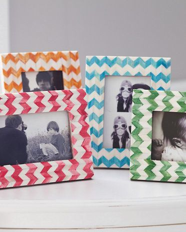 Chevron Picture Frame: I like the blue one, but it's too expensive. Probably would be easy to do as a DIY on a white frame.