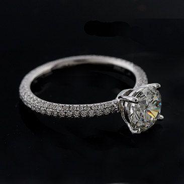 Diamond Cut Down Micro Pave Platinum Engagement Ring Mounting. $2,499.00, via Etsy.
