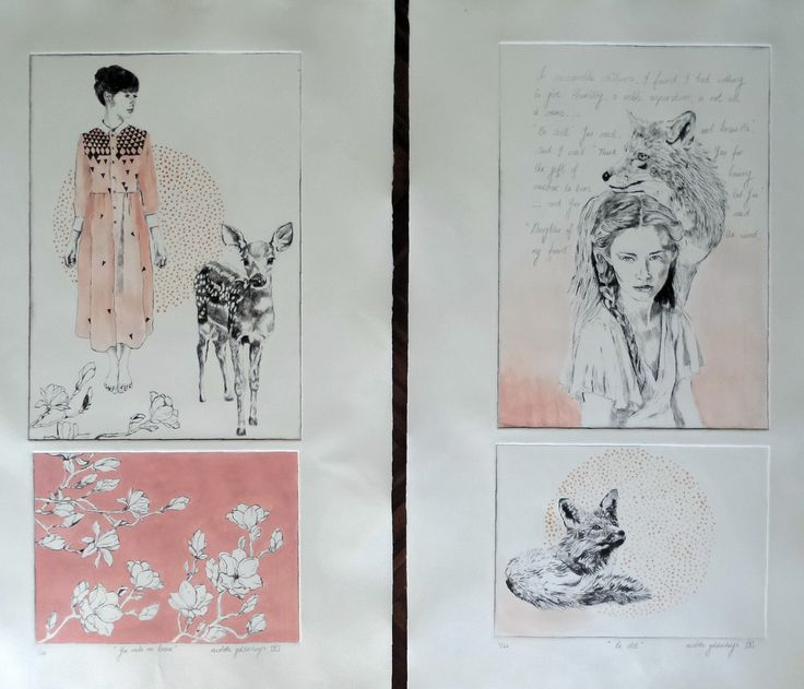 Drypoint etches with hand coloring. @ www.nicolettegeldenhuysart.co.za