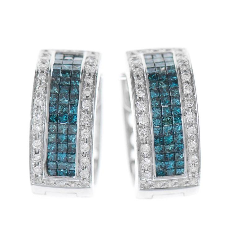 14k White Gold Blue and White Princess & Round Cut Diamond Hoop Earrings 1.50ct #Hoop