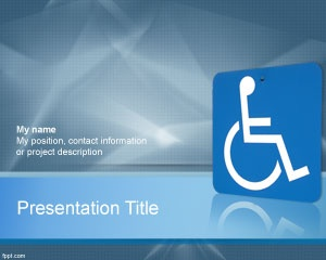 Disabilities PowerPoint Template is a blue PPT template for accessibility presentations that can be used for disabilities topics | Medical PowerPoint Templates