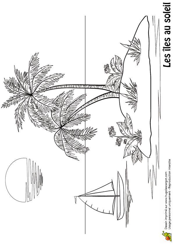 Coloriage d une le et d un voilier coloriages paysages - Dessin d une ile ...
