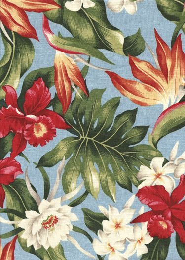 20hukilau Tropical Hawaiian Hibiscus, bird of paradise, & protea - cotton barkcloth fabric. Add Discount code: (Pin10) in comment box at check out for 10% off sub total at BarkclothHawaii.com