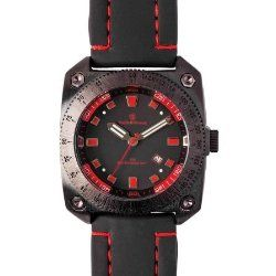 Smith & Wesson SWW-5900 Flight Deck Watch with Rubber Strap, Red and Black