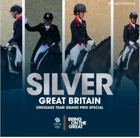 Carl Hester, Fiona Bigwood, Charlotte Dujardin and Spencer Wilton take the Dressage Team Grand Prix Special ‪#‎Silver‬ medal! After some wonderful rides, finishing with a team score of 78.595%. Congratulations!