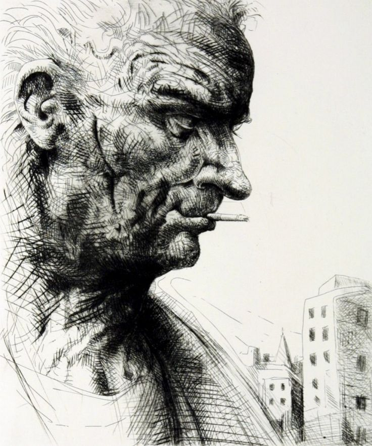 'Chalk Farm' by Peter Howson, 1998, etching, 50x45cm