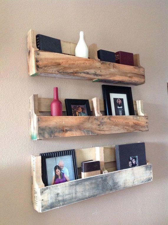 Reclaimed pallet shelves set of 3 by DelHutsonDesigns on Etsy