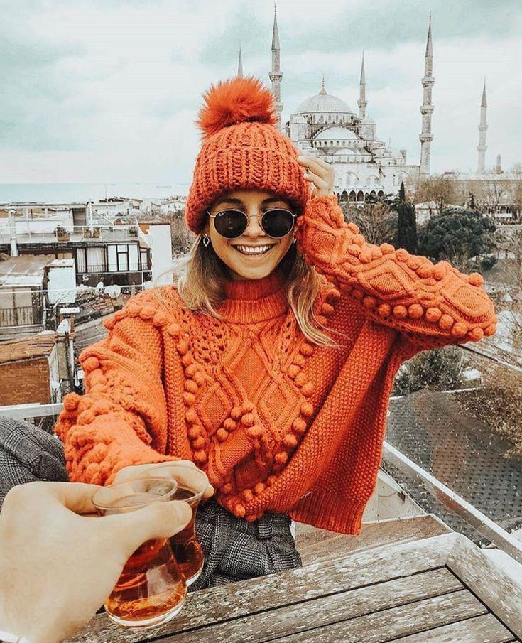 Orange knitwear.