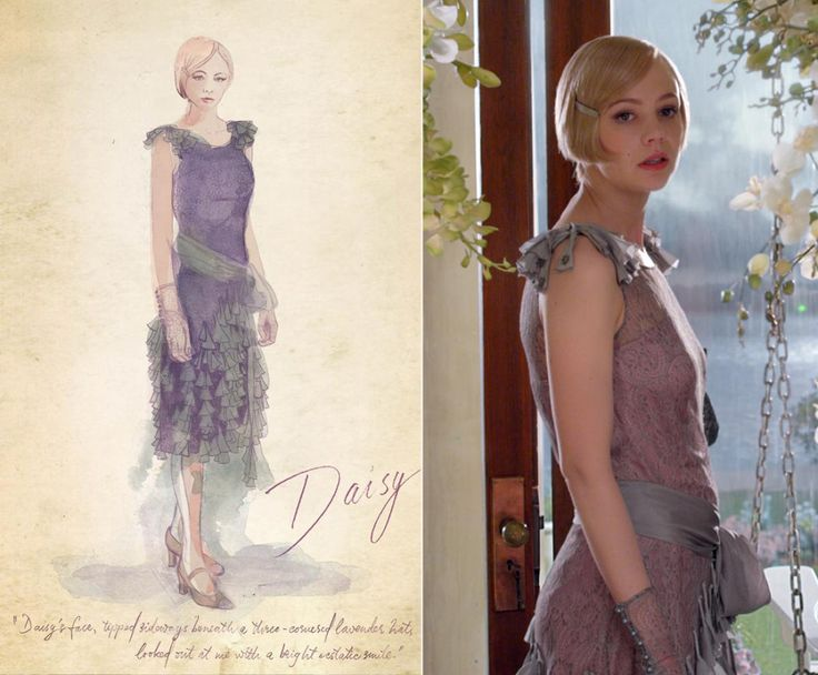 "One of her favorite scenes from the film features a lavender dress worn by Daisy Buchanan (Carey Mulligan) that is described by Fitzgerald as being accessorized with brass buttons and a Tricorne hat. To offset the military details, Martin decided to make the headpiece so big everyone on set called it the ""Flying Nun"" hat. ""Everyone in my department was pretty unenthusiastic about it but Carey Mulligan just put the hat on and made it work,"" Martin tells The News."